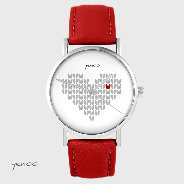 Yenoo watch - Knitted heart - red, leather