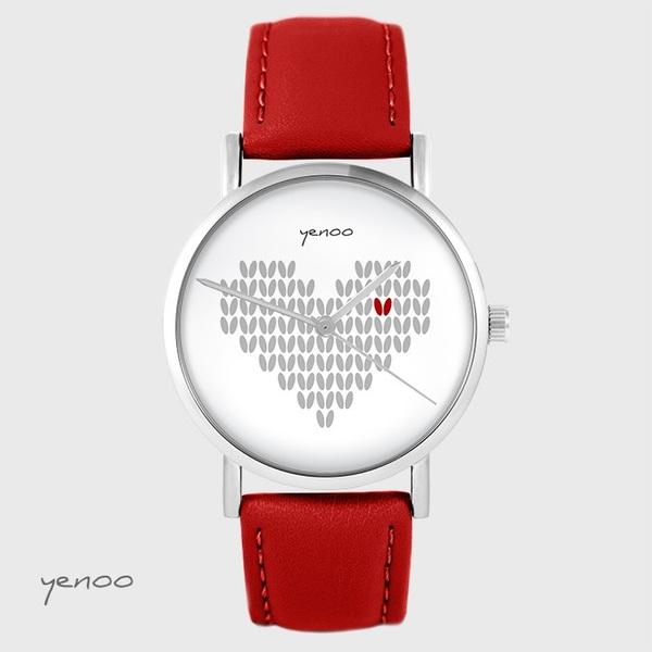 Zegarek yenoo - Serce dziergane - czerwony, skórzany