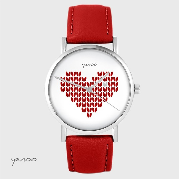 Yenoo watch - Knitted heart, red - red, leather