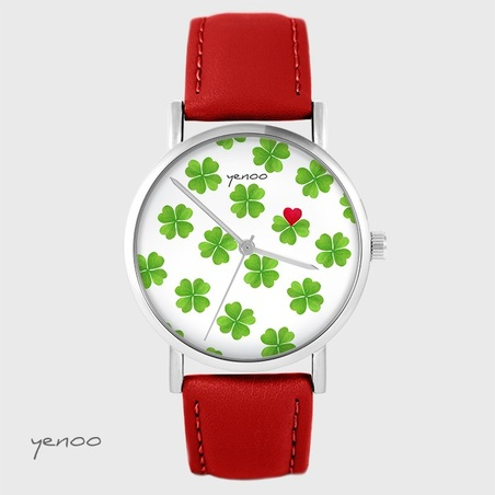 Yenoo watch - Lucky heart - red, leather