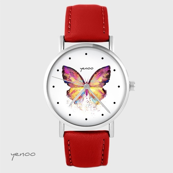 Yenoo watch - Butterfly - red, leather