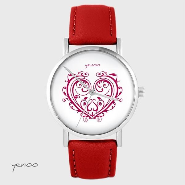 Zegarek yenoo - Serce ornamentowe - czerwony, skórzany