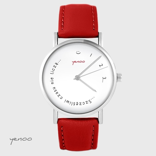 Yenoo watch - Happy do not count time - red, leather