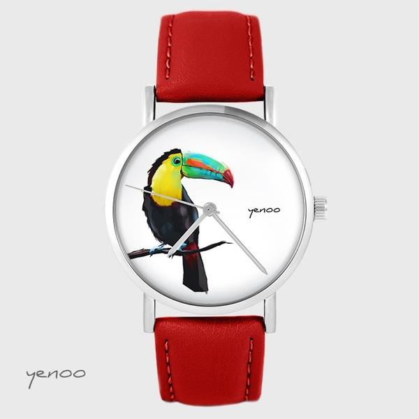 Zegarek yenoo - Tukan - czerwony, skórzany