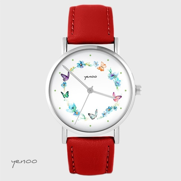 Yenoo watch - Colorful wreath - red, leather