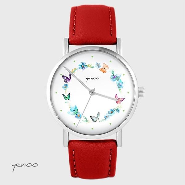 Zegarek yenoo - Kolorowy wianek - czerwony, skórzany