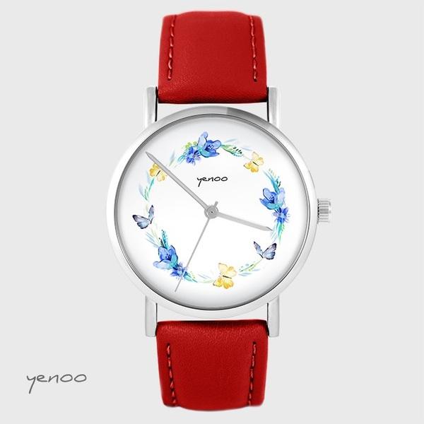 Yenoo watch - Wreath of butterflies - red, leather_a