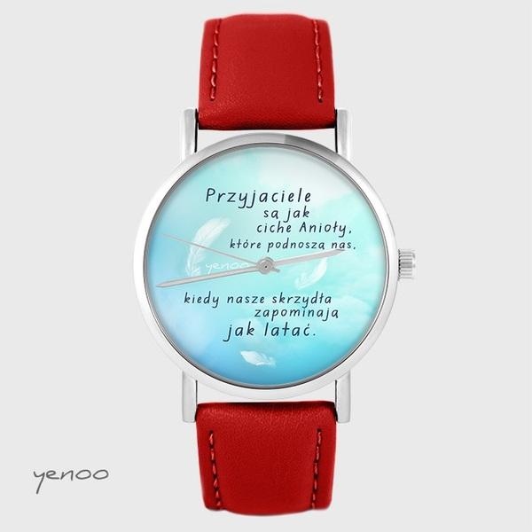 Zegarek yenoo - Przyjaciele - czerwony, skórzany