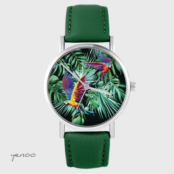 Zegarek yenoo - Papugi, tropikalny - zielony, skórzany