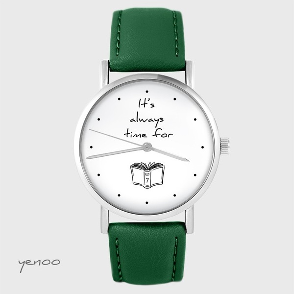 Watch yenoo - It is always time for a book - green, leather
