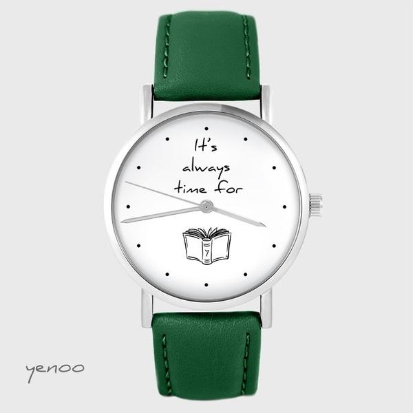 Zegarek yenoo - It is always time for a book - zielony, skórzany