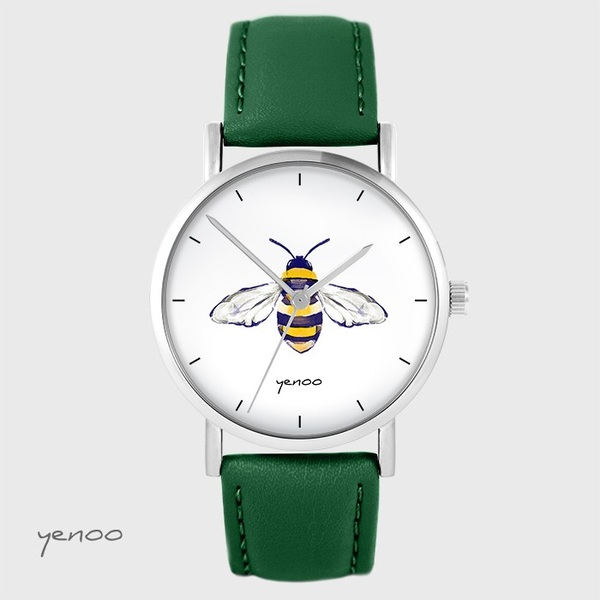 Yenoo watch - Bee - green, leather