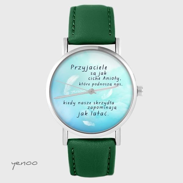 Zegarek yenoo - Przyjaciele - zielony, skórzany