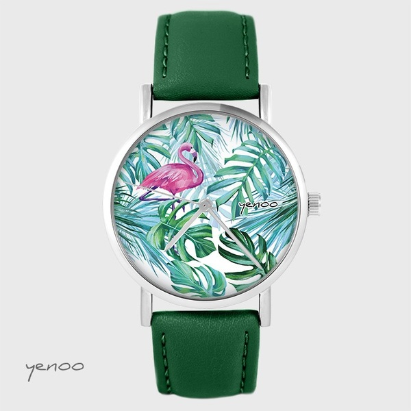 Yenoo watch - Flamingo, tropical - green, leather