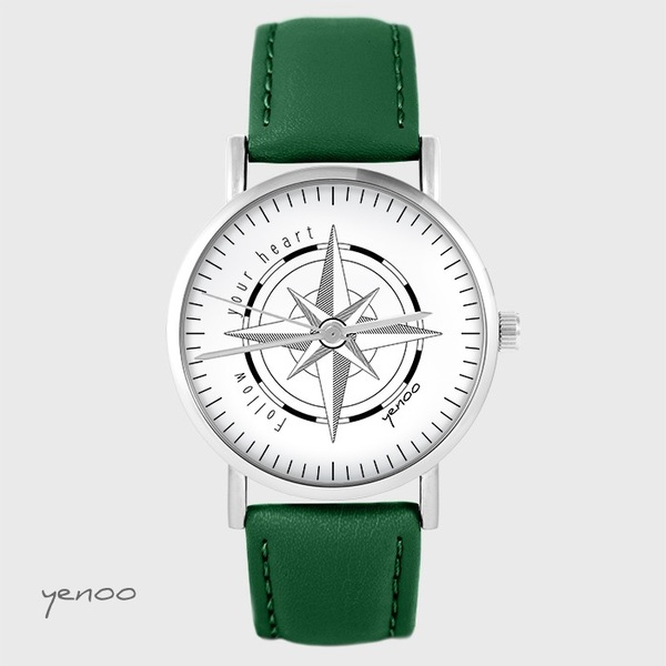 Yenoo watch - Compass - green, leather