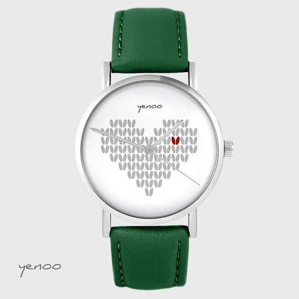 Zegarek yenoo - Serce dziergane - zielony, skórzany