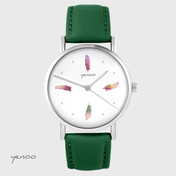 Zegarek yenoo - Kolorowe piórka - zielony, skórzany