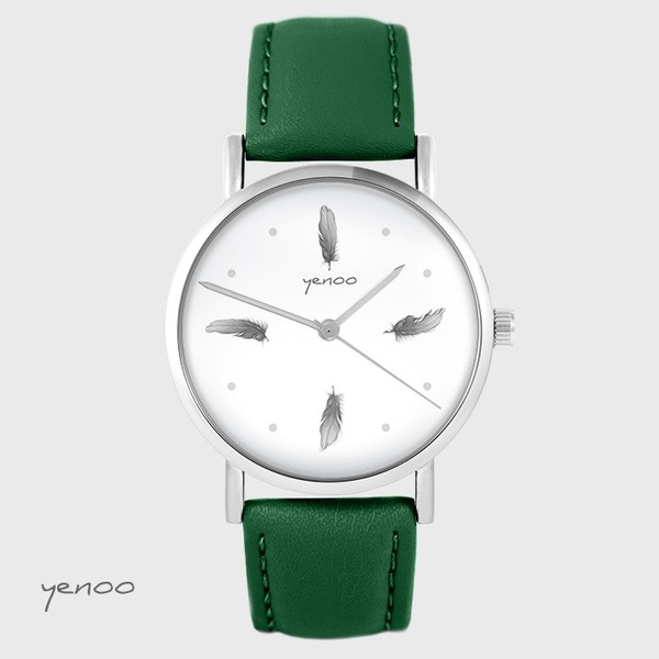 Yenoo watch - Gray feathers - green, leather