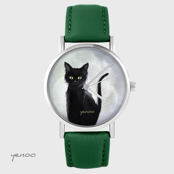 Zegarek yenoo - Czarny kot - zielony, skórzany