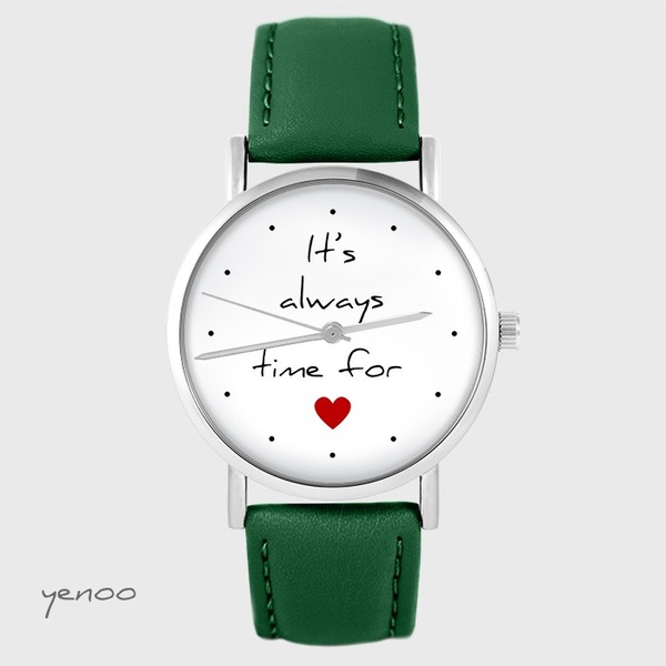 Watch yenoo - It is always time for love - green, leather