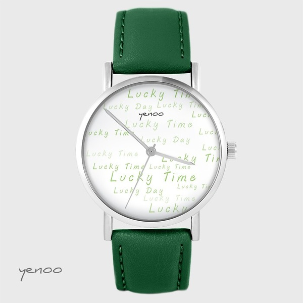 Yenoo watch - Lucky day - green, leather
