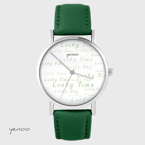 Zegarek yenoo - Lucky day - zielony, skórzany