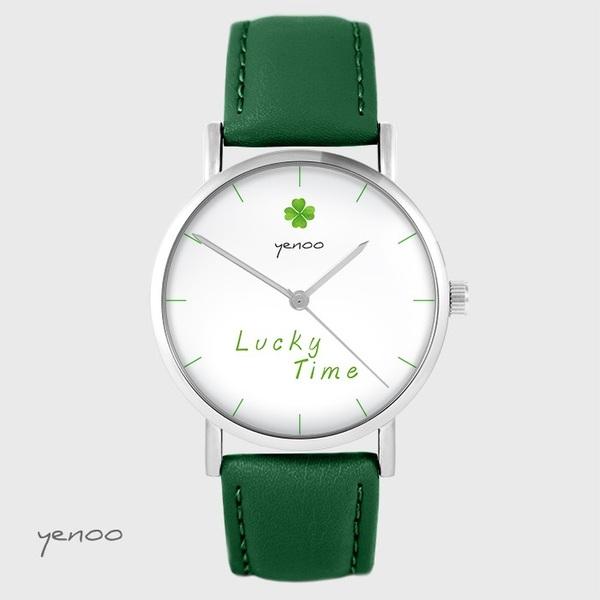 Zegarek yenoo - Lucky time - zielony, skórzany