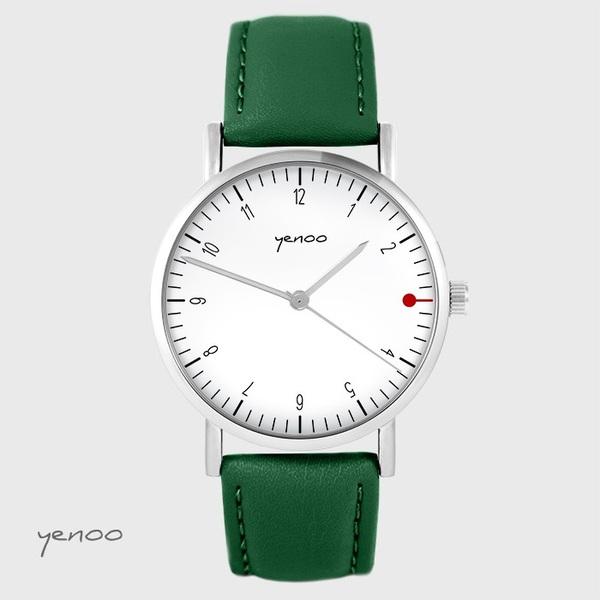 Zegarek yenoo - Simple elegance, biały - zielony, skórzany