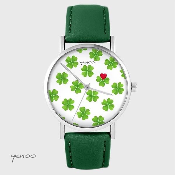 Zegarek yenoo - Lucky heart - zielony, skórzany