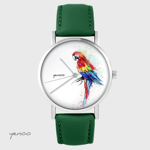 Yenoo watch - Red parrot - green, leather