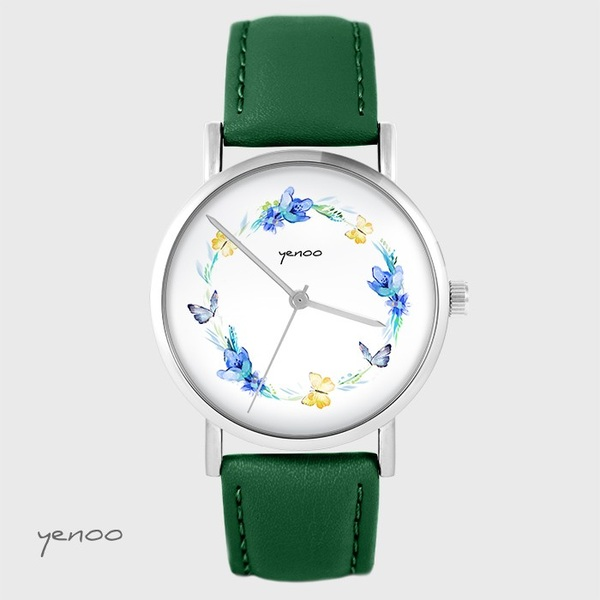 Yenoo watch - Wreath of butterflies - green, leather