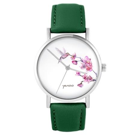 Yenoo watch - Koliber - green, leather