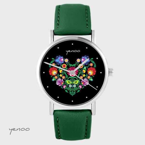 Yenoo watch - Folk heart, black - green, leather