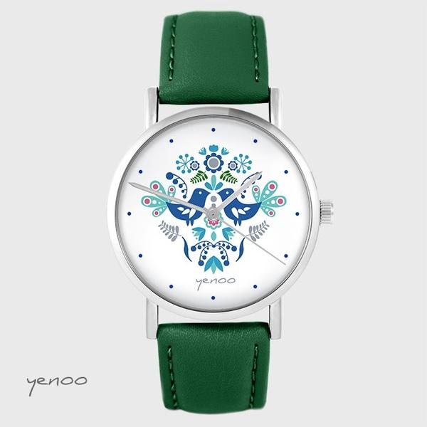 Zegarek yenoo - Ptaszki folkowe, niebieskie - zielony, skórzany