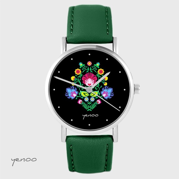Yenoo watch - Folk, black - green, leather