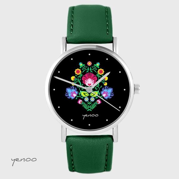 Zegarek yenoo - Folkowy, czarny - zielony, skórzany