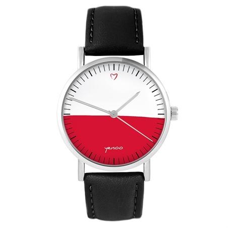 Yenoo watch - Polish flag - black, leather