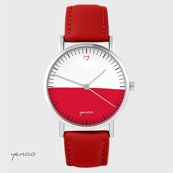 Yenoo watch - Polish flag - red, leather