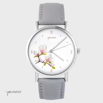 Yenoo watch - Magnolia - gray, leather