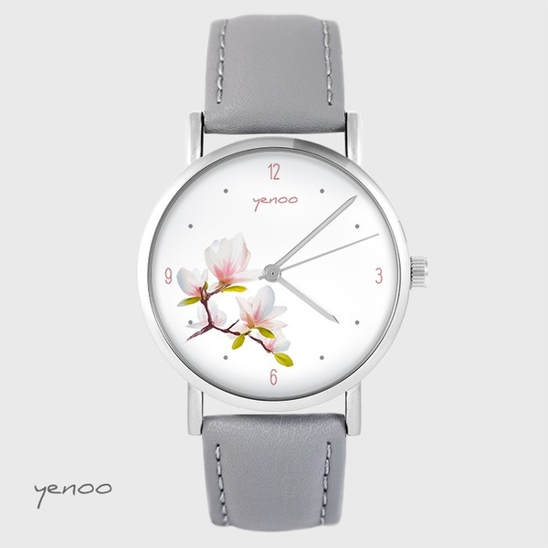 Yenoo watch - Magnolia - gray, leather