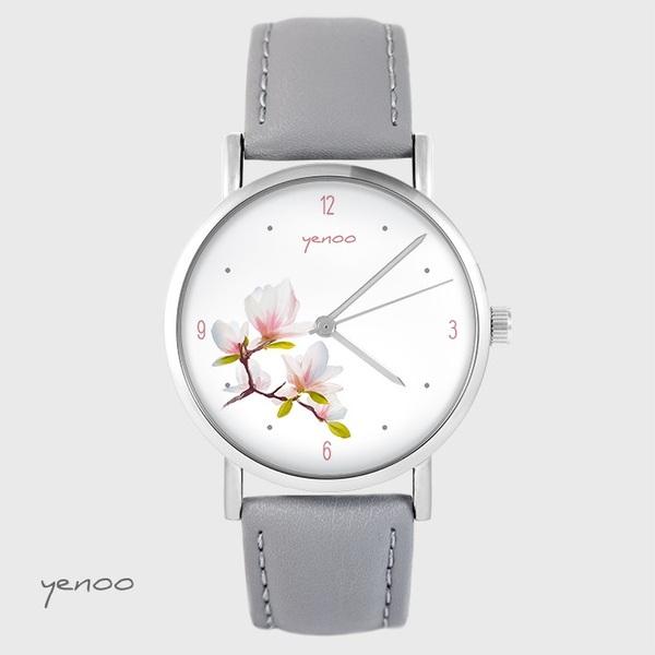 Zegarek yenoo - Magnolia - szary, skórzany