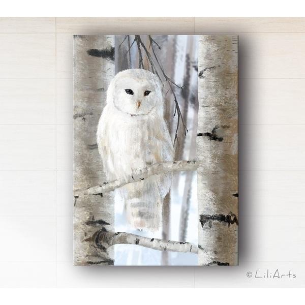 Obraz - Biała sowa - wydruk na płótnie