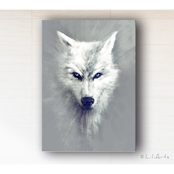 Painting - White wolf - print on canvas