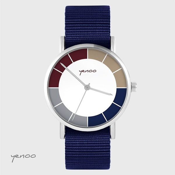 Watch yenoo - Classic tricolor - navy blue, nato