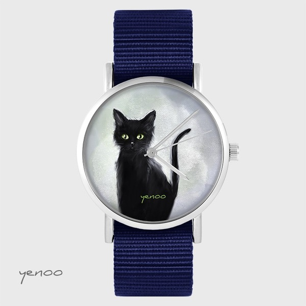 Yenoo watch - Black cat - navy blue, nato