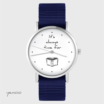 Watch yenoo - It is always time for a book - navy blue, nato