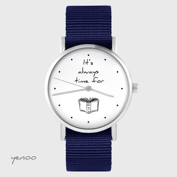 Zegarek yenoo - It is always time for a book - granatowy, nato