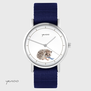 Yenoo watch - Hedgehog - navy blue, nato