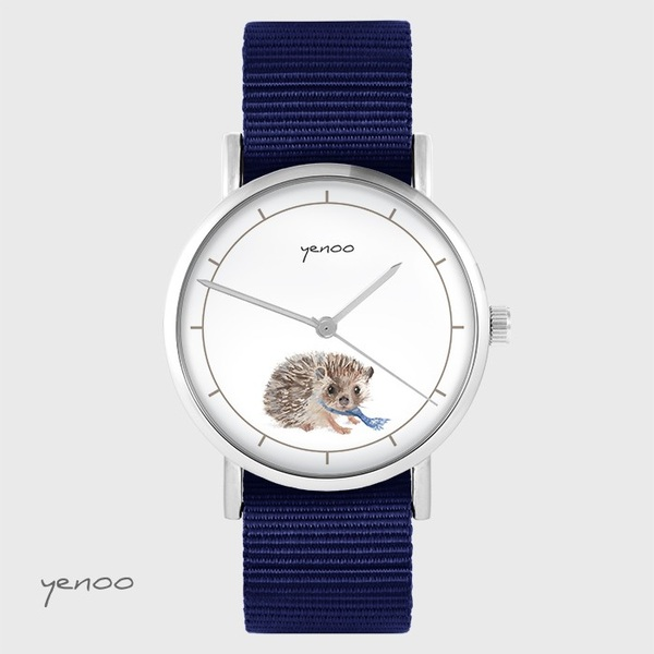 Yenoo watch - Hedgehog - navy blue, nato