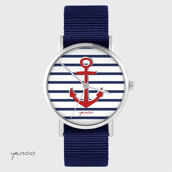Yenoo watch - Anchor - navy blue, nato